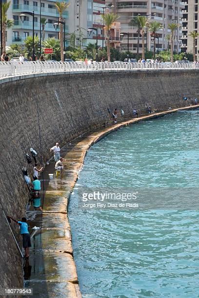 Lebanese fishermen in the sea side of Beirut