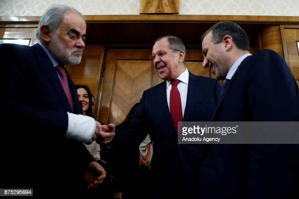 Lebanese Foreign Affairs and Emigrants Minister Gebran Bassil attends a meeting with Russian Foreign Minister Sergei Lavrov in Moscow Russia on...