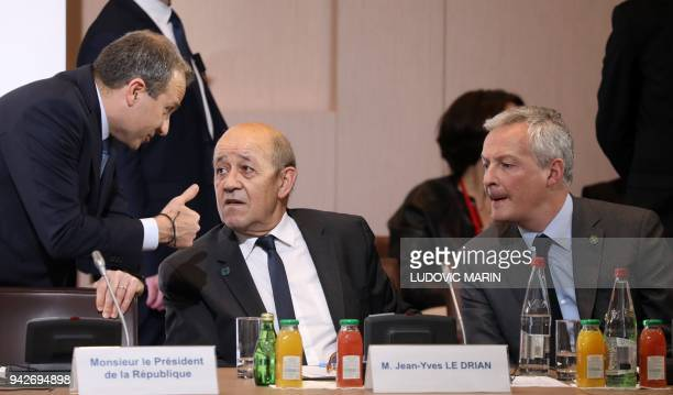 Lebanese Foreign Affairs Minister Gebran Bassil French Foreign Affairs Minister JeanYves Le Drian and French Economy Minister Bruno Le Maire speak as...