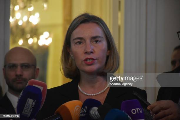 Lebanese Foreign Minister Gebran Bassil and High Representative of the European Union for Foreign Affairs and Security Policy Federica Mogherini...
