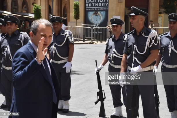 Lebanese Foreign Minister Gebran Bassil participates in an extraordinary session at Parliament building for the Parliament speaker election in Beirut...