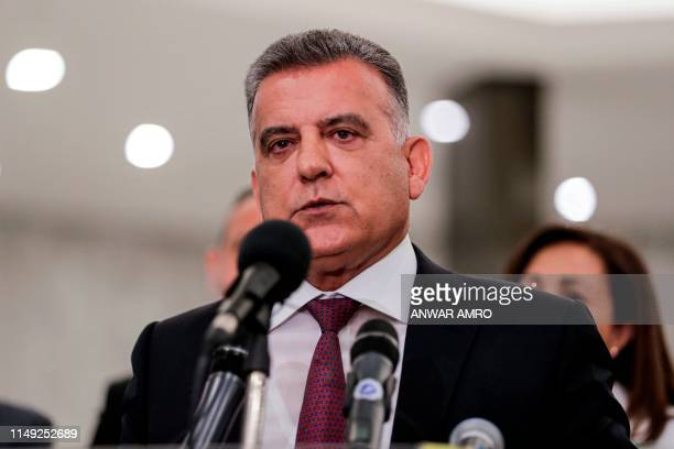Lebanese General Security chief Abbas Ibrahim speaks during a press conference at the presidential palace in Baabda east of the capital Beirut on...