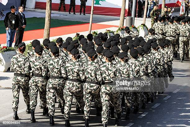Lebanese general security forces female cadets march in a military parade during an official ceremony commemorating the country's 73rd independence...