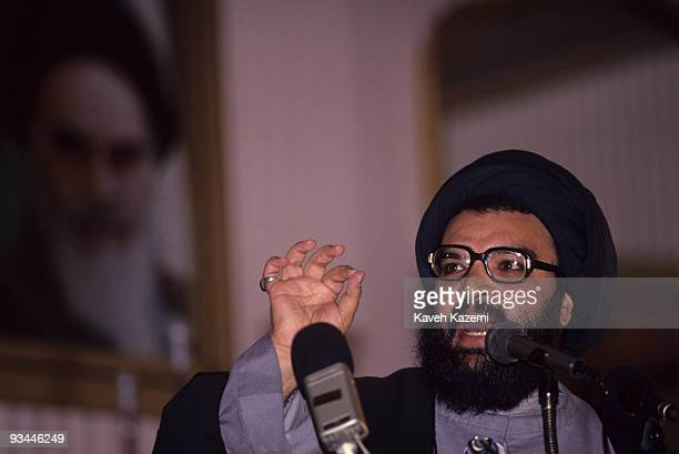 Lebanese Hezbollah leader Abbas alMusawi giving a speech in Tehran February 1992 He was assassinated by Israeli forces in Lebanon on 16th February...
