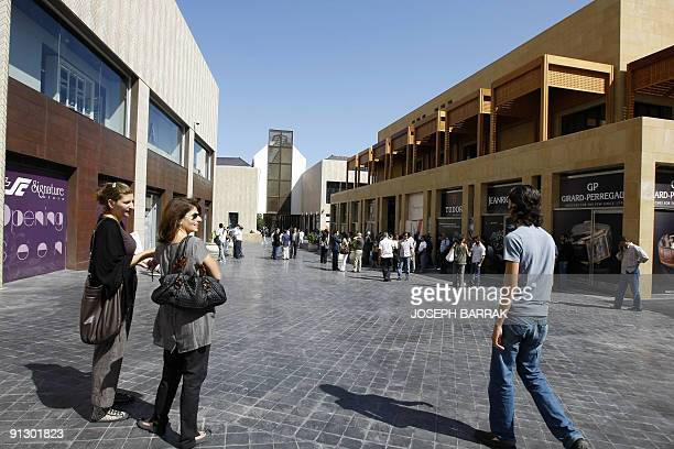 Lebanese journalists tour the newly opened Beirut souk project in the Lebanese capital on October 1 2009 The souk features 400 outlets and has been...