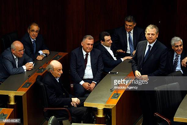 Lebanese lawmakers gather at the Parliament of Lebanon for the third round of presidential election on May 7 2014 in Beirut Lebanon Lebanese...