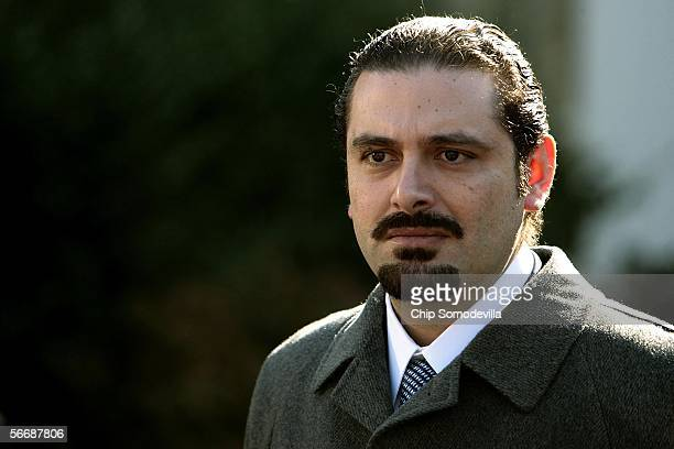 Lebanese Member of Parliament Saad Hariri talks with the news media after meeting with US President George W Bush January 27 2006 at the White House...