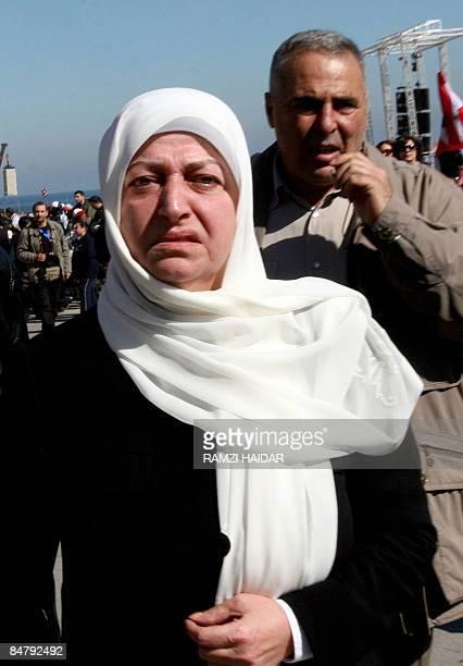 Lebanese Minister of Education Bahia Hariri wife of slain former prime minister Rafiq Hariri attends a rally in downtown Beirut on February 14 to...