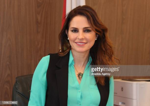 Lebanese Minister of Information Manal Abdull Samad poses for a photo during an exclusive interview with Anadolu Agency in Beirut Lebanon on April 03...