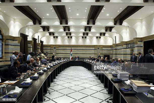 Lebanese ministers hold a meeting under the chairmanship of Lebanon's Prime Minister Tammam Salam over waste problem in the government building in...