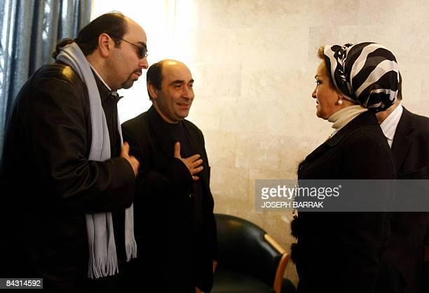 Lebanese musicians Osama and Ghadi Rahbani accept condolences from Randa Berri wife of Lebanon's parliament speaker Nabih Berri for their late father...