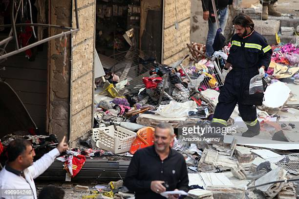 Lebanese official inspects an area where two explosions took place at Dahieh, know as Hezbollah stronghold, South Beirut, Lebanon on November 13,...