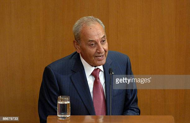Lebanese Parliament Speaker Nabih Berri addresses the parliament upon his reelection as the house speaker in Beirut on June 25 2009 The Shiite leader...