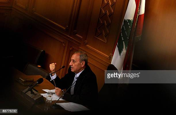 Lebanese Parliament Speaker Nabih Berri gestures as he addresses high school students acting as MPs during a symbolic parliament session in downtown...