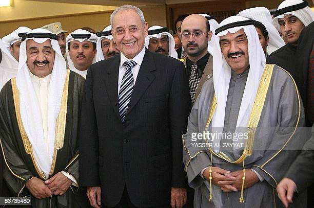 Lebanese Parliament Speaker Nabih Berri poses for a picture with his Kuwaiti counterpart Jassem alKharafi and Prime Minister Sheikh Nasser Mohammed...