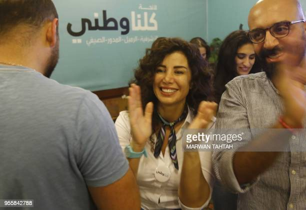 Lebanese parliamentary candidate Joumana Haddad a writer and activist running for a minority seat in Beirut with the Kulluna Watani list is pictured...