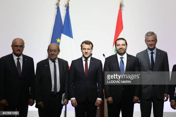 Lebanese politician Ali Hassan Khalil French Foreign Affairs Minister JeanYves Le Drian French President Emmanuel Macron Lebanese Prime Minister Saad...