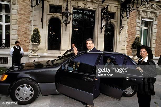 Lebanese politician businessman and Prime Minister Rafiq Hariri in Paris with his wife Nazek Hariri