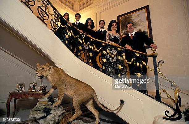 Lebanese politician businessman and Prime Minister Rafiq Hariri with his wife Nazek Hariri and their children Joumana Ayman Fahed and Hind at their...