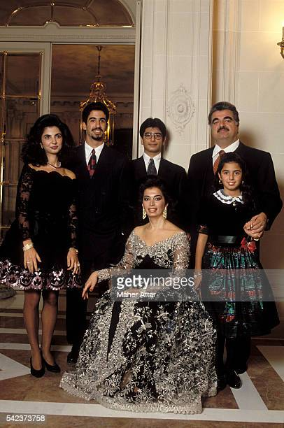 Lebanese politician businessman and Prime Minister Rafiq Hariri with his wife Nazek Hariri and children Joumana Ayman Fahed and Hind in their home in...