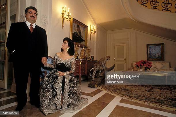 Lebanese politician businessman and Prime Minister Rafiq Hariri with his wife Nazek Hariri at their Paris home