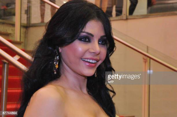 Lebanese pop star and sex symbol Haifa Wehbe poses for a picture at the 62nd Cannes Film Festival on May 17 2009 Wehbe is in Cannes with Egyptian...