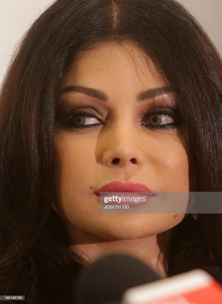 Lebanese Pop Star Haifa Wehbe Speaks During A Press Conference