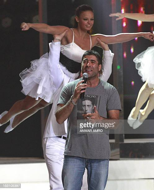 Lebanese pop star Wael Kfoury sings during the Miss Lebanon 2012 competition in Sahel Alma north of Beirut on September 29 2012 Rina Shibany was...