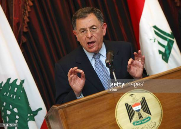 Lebanese Premier Fuad Siniora addresses a joint press conference with Iraqi Prime Minister Nuri alMaliki on August 20 2008 in Baghdad Siniora is the...