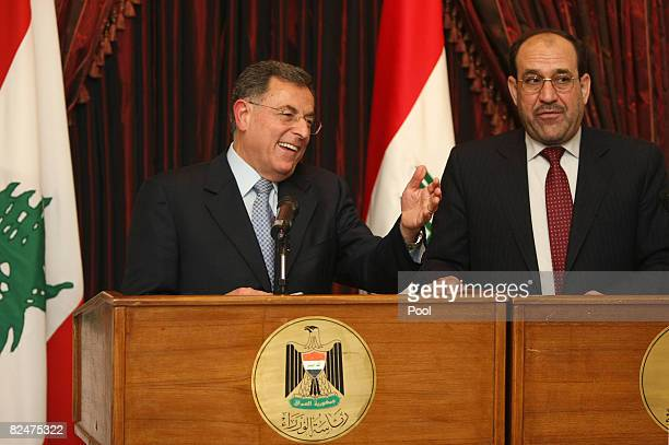 Lebanese Premier Fuad Siniora gestures during a joint press conference with Iraqi Prime Minister Nuri alMaliki on August 20 2008 in Baghdad Siniora...