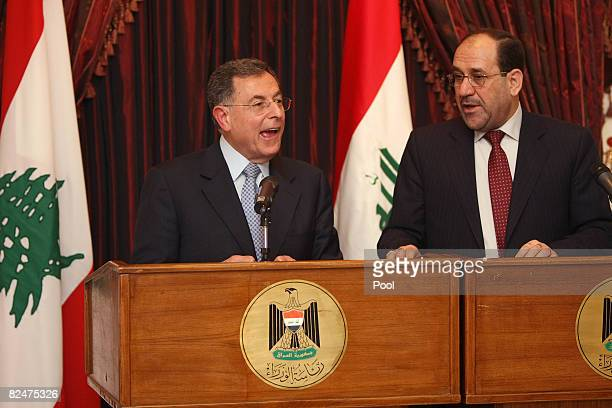 Lebanese Premier Fuad Siniora speaks during a joint press conference with Iraqi Prime Minister Nuri alMaliki on August 20 2008 in Baghdad Siniora is...