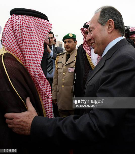 Lebanese President Emile Lahoud is greeted by Saudi Prince Sattam bin Abdul Aziz upon arrival at Riyadh airport 27 March 2007, one day before the...