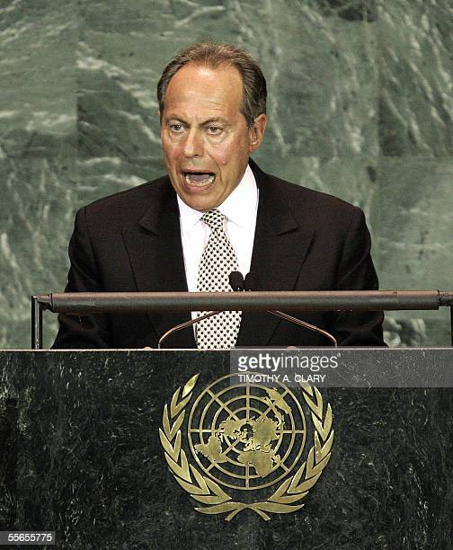 Lebanese President Emile Lahoud speaks during the 2005 World Summit 16 September 2005 at the 60th session of the United Nations General Assembly in...