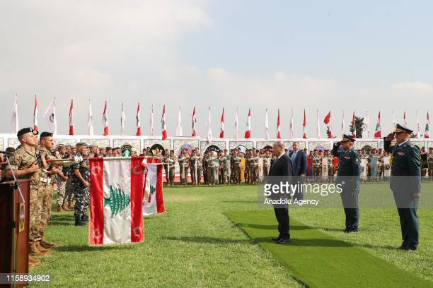 Lebanese President Michel Aoun attends a ceremony marking the 74th anniversary of the founding of Lebanese Armed Forces at the military academy in...