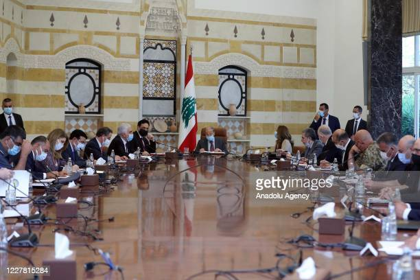Lebanese President Michel Aoun attends a meeting with members of Lebanese Supreme Defense Council on Israeli army attacks on the southern part of the...