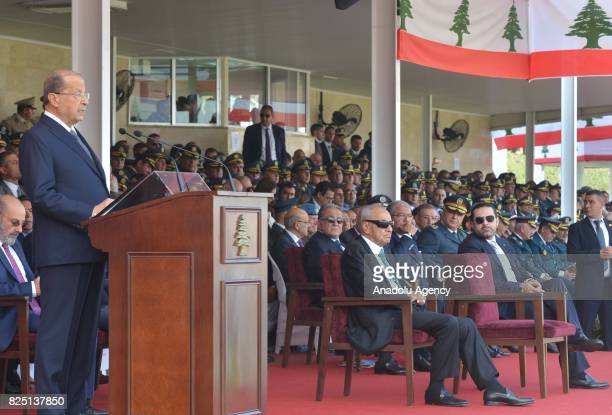 Lebanese President Michel Aoun delivers a speech during a graduation ceremony at military academy as part of the 72nd anniversary of the Army Day at...