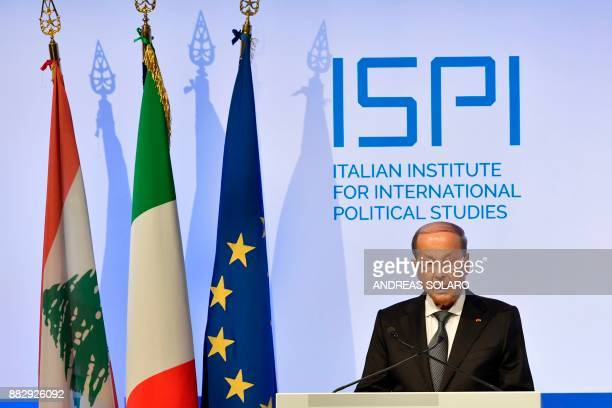Lebanese President Michel Aoun delivers a speech during the Mediterranean Dialogues summit a threeday conference on security in the Mediterranean...
