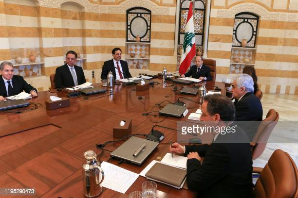 Lebanese President Michel Aoun heads the first meeting of Prime Minister Hassan Diab's newly constituted government at the presidential palace in...
