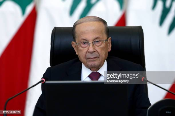 Lebanese President Michel Aoun makes a speech as he holds a meeting to evaluate current country's situation and economic crisis with political group...