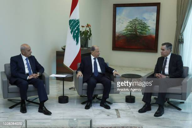 Lebanese President Michel Aoun meets Lebanon's ambassador to Berlin Mustapha Adib , who was assigned to form the new government in Lebanon, at Baabda...