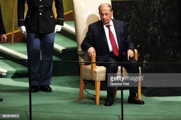 Lebanese President Michel Aoun pauses after speaking to world leaders at the 72nd United Nations General Assembly at UN headquarters in New York on...