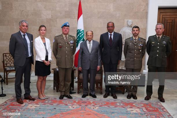Lebanese President Michel Aoun receives Head of Mission and Force Commander of the United Nations Interim Force in Lebanon Stefano Del Col at the...