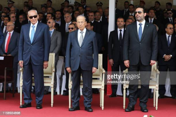 Lebanese President Michel Aoun Speaker of the Parliament of Lebanon Nabih Berri and Prime Minister of Lebanon Saad Hariri attend a ceremony marking...