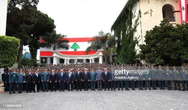 Lebanese President Michel Aoun Speaker of the Parliament of Lebanon Nabih Berri Prime Minister of Lebanon Saad Hariri along with political and...