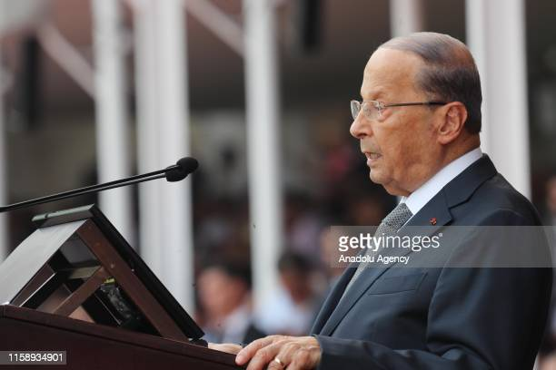 Lebanese President Michel Aoun speaks during a ceremony marking the 74th anniversary of the founding of Lebanese Armed Forces at the military academy...