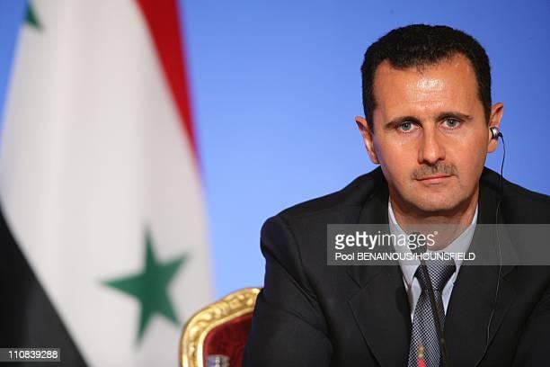 Lebanese President Michel Sleiman Qatari Emir Hamad Bin Khalifa Al Thani French President Nicolas Sarkozy And Syrian President Bashar AlAssad Attend...