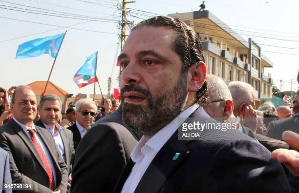 Lebanese Prime Minister and chairperson of the Future Movement Saad Hariri visits the southern Lebanese city of Marjayoun on April 13 2018 / AFP...