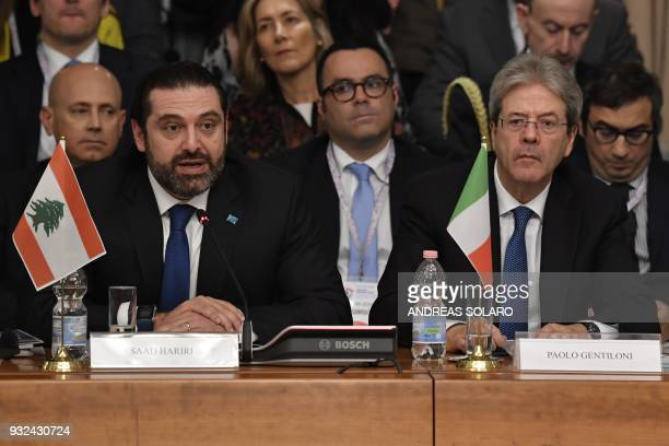 Lebanese Prime Minister and Leader of the Future Movement Party Saad Hariri speaks next to Italy's Prime Minister Paolo Gentiloni during the...