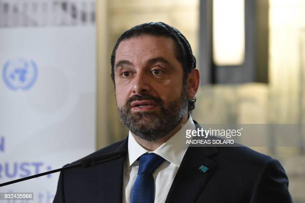 Lebanese Prime Minister and Leader of the Future Movement Party Saad Hariri gives a joint press conference during the Ministerial meeting 'Lebanon...