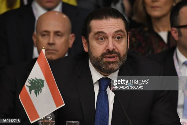 Lebanese Prime Minister and Leader of the Future Movement Party Saad Hariri attends the Ministerial meeting 'Lebanon building trust a viable security...